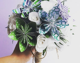 Wedding Bridal White Green Blue Origami Crepe Paper Bouquet, crepe paper flowers,