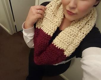 Two Tone Chunky Crochet Infinity Scarf