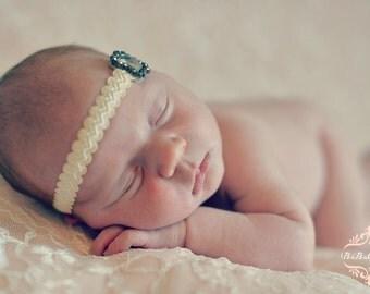 Ivory Headband with Silver Rhinestone