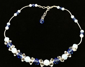 Sterling Silver Necklace, Swarovski Crystal Necklace, Blue Ocean Dreams Necklace