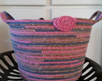 Handmade Large Coiled rope basket with handles