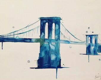 Brooklyn Blues Original Watercolor Painting Canvas