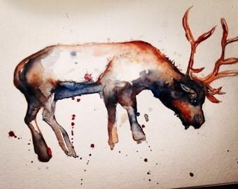 Hand painted original Reindeer