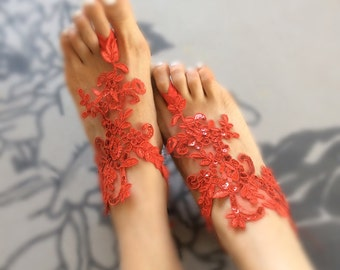 2 colors alencon lace barefoot sandals, red / off white  bridal lace sandals, barefoot sandal, lace anklets, bellydance, bridesmaid gift