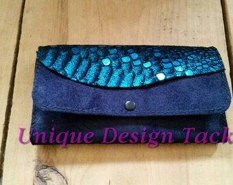 Navy wallet with turquoise accents with snap closure.