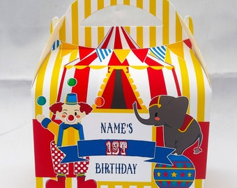 Circus Carnival Personalised Children's Party Box Gift Bag Favour