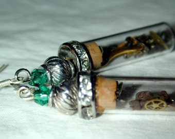 Steampunk Upcycled Watchworks earrings with green Swarovski crystals and rhinestones