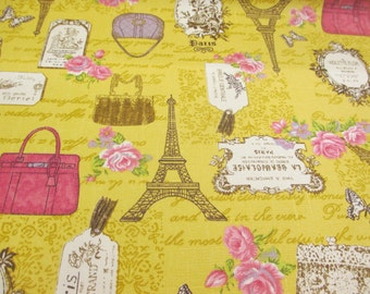 Gold Eifell Tower, Paris, France Printed 100% Cotton Canvas Fabric.