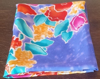Flower motif silk scarf in turquoise, blue, orange and red by Liz Claibourne