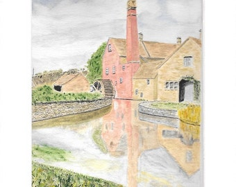 Water Mill, Upper Slaughter, Cotswolds. Print from original Watercolour.