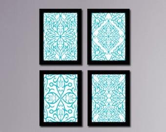 SALE Set of 4 Prints, Printable Art, Turquoise Art, Printable Damask Art, Turquoise Wall Art, Printable Wall Art, Art Print, Wall Decor #130