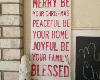 Christmas Blessing - Large Wood Sign