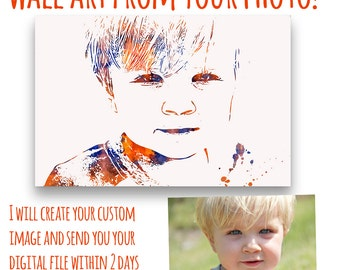 Customized Gift Idea- Family Gift - Custom Portrait - Personalized Gift - Custom Wall Art - Kid's Portrait - Photo Art- Gift Idea- Under 15