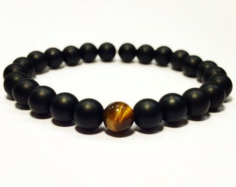 Onyx and tiger eye bracelet,Onyx bracelet,tiger eye bracelet,tiger eye stretch bracelet,onyx and tiger eye stretch bracelet,mala bracelet