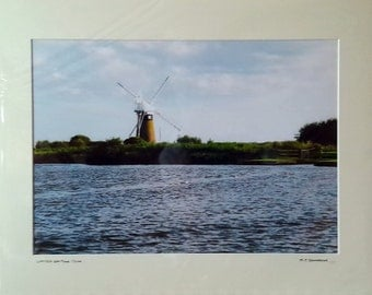 "St Benets Mill Print, Norfolk Broads, Signed Limited Edition A3 Landscape Color Photograph in 50cm x 40cm (20"" x 16"") Mount"