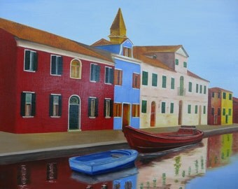 Venice - Burano - Port - painting l