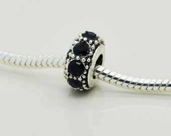 Black Rhinestone Bead, Bracelet Beads, European Bracelet, Charm.