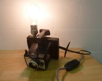 Vintage retro polaroid camera square shooter 2 Desk Lamp + Edison bulb upcycled