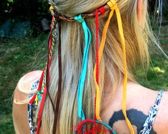 Dreamcatcher Headband (red, blue and yellow)