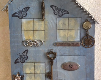 Mixed Media Key Rack/Necklace Displayer House - No 67 in Slate Blue