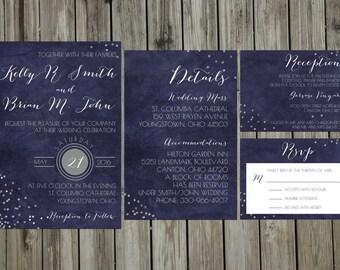 Custom Sparkles and Navy Wedding Invitation Suite