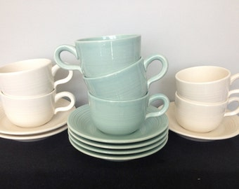 Franciscan Reflections Jade and White Cups and Saucers - Individually Priced - Mix and Match!