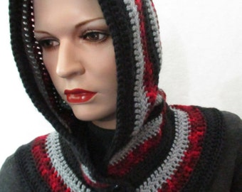 Ready to Ship Crocheted Hood Cowl. Black, Grey, Burgundy Blend topped with Black Buttons w grey adorned w bronze Cross Snaps easy on off!