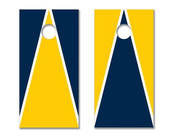 Cornhole Board Decals with Michigan Wolverines Colors (Blue, Yellow and White)