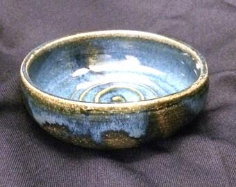 Wheel thrown blue stoneware spoon rest or shallow utility dish. SR1.