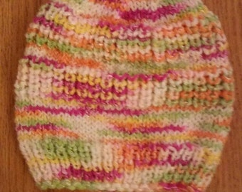 Knitted baby hat, size 3-6 months, multicolor, for girl