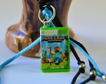 Polymer clay keychain, inspired by Mine Craft, inspired by Xbox 360, miniature video game, video game key chain, game case key chain