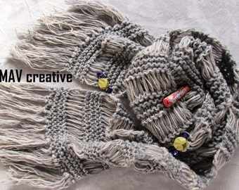 Hand knit scarf - 'Winter Sky'