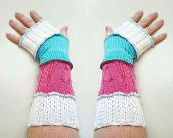 Upcycled repurposed eco friendly arm warmers pink white blue cotton candy