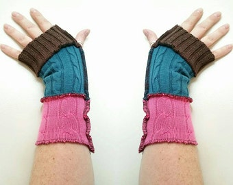 Upcycled repurposed eco friendly arm warmers pink turquoise brown