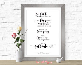 Fall Into Me | Brantley Gilbert | DIGITAL FILE (Prints Available) | Custom Wedding Song Lyrics Sign | Wedding Gift | Personalized