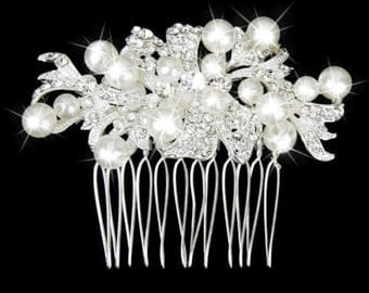 Wedding Bridal Hair Comb Sterling Silver Plated Pearls Clear Austrian & Swarovski Crystal Rhinestones Prom NOW ON SALE!