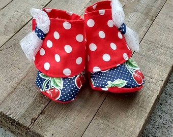 Cherry baby girl shoes, baby shoes, baby shower gift, baby girl, polka dot baby girl shoes