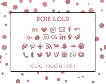 Rose Gold, Social Media Icons, Rose Gold Icons, Glam Rose Gold Buttos, Icons for website, blog, business cards, Social Media Buttons, Icons
