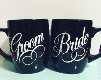 Bride & Groom set of coffee mugs