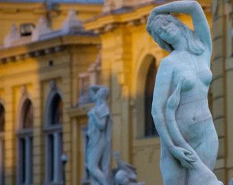 Goose and Woman - Statue, Szechenyi Baths, Budapest Huangary, Sunset, Soft light, Architecture art, yellow photography, baroque, naked