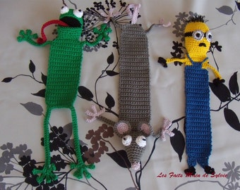 Bookmark minion rat frog crochet