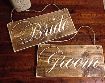 Bride & Groom | wedding decor | Bride and Groom signs | wedding chair signs | wedding signs | rustic wedding decor