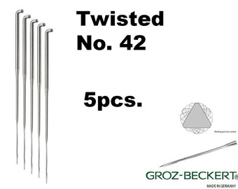 Twisted felting needles, Gauge 42. Price for 5pcs. Made in Germany.