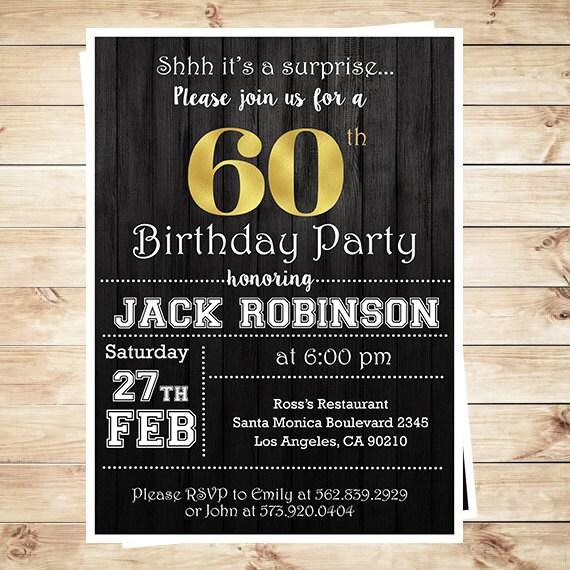 Man Surprise birthday party invitation 60th birthday for men