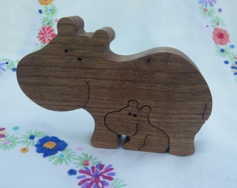 Solid wood hippo ornament or puzzle - hippo and baby