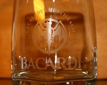 Bacardi Rum Etched Glass