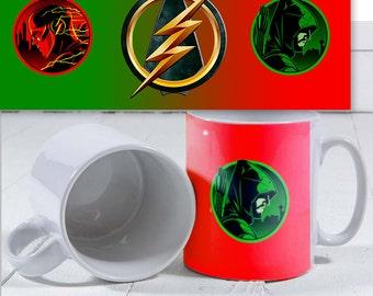 DC Comic The Green arrow and Flash Cross over mug.