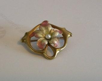 Antique Art Nouveau pin brooch 14kt enamel