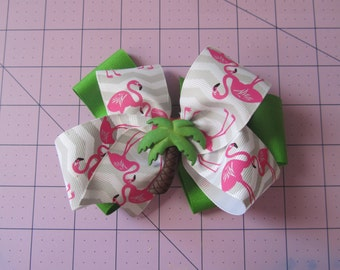 Palm Tree and Flamingo Boutique Bow