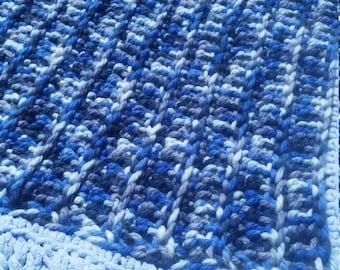 SLEEPY TIME! hand crochet baby/toddler blanket/afghan/boys ,blue